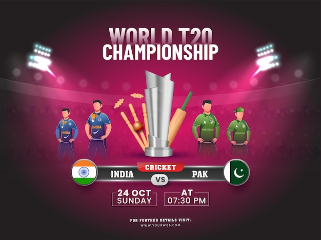 World t20 championship concept with 3d cricket equipment, silver trophy cup of participate team india vs pakistan on stadium background.