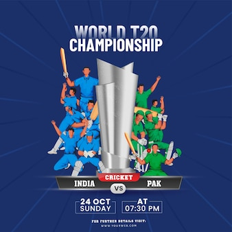 World t20 championship concept with 3d silver trophy cup and participating team india vs pakistan players on blue rays background.