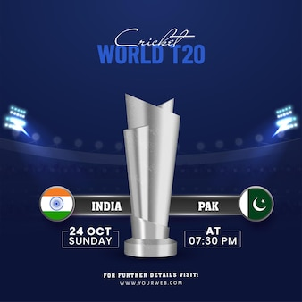 World t20 cricket concept with 3d silver trophy cup of participating team india vs pakistan on blue stadium background.