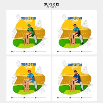 World t20 cricket social media posts with different countries wicket keeper hits ball to stump on abstract background in four options. super12 group b list.