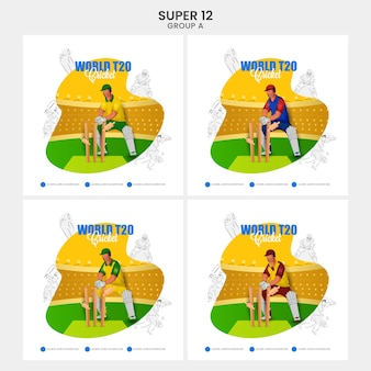 World t20 cricket social media posts with different countries wicket keeper hits ball to stump on abstract background in four options. super12 group a list.