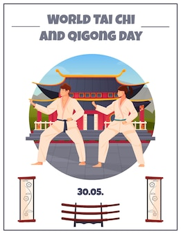 World tai chi and qigong day poster with two oriental athletes in kimono at chinese pagoda