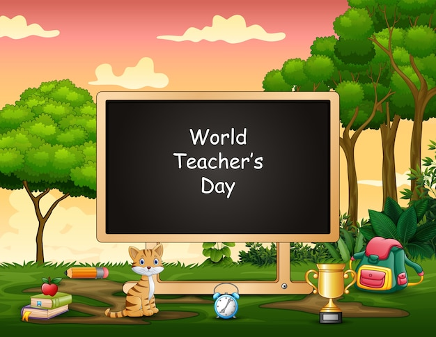 World teacher day text on blank board in the middle of nature