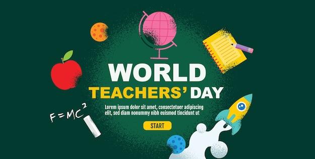 Всемирный день учителя, снова в школу, шаблон дизайна баннера