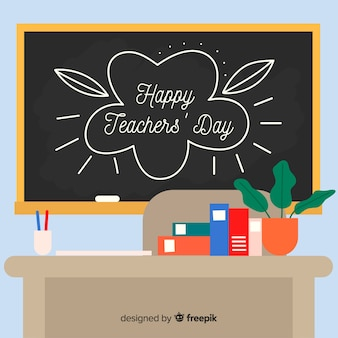 World teacher's day background with blackboard and desk