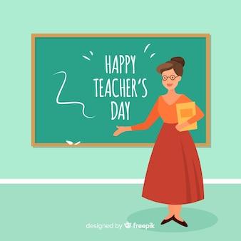 World teacher's day background with female teacher and blackboard