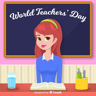 World teacher's day background with female teacher and blackboard