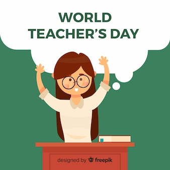 World teacher's day background with female teacher