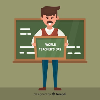World teacher's day background with professor and blackboard