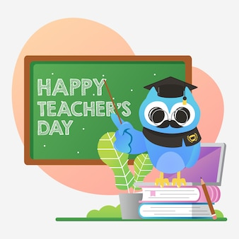 World teacher's day illustration with cute blue owl