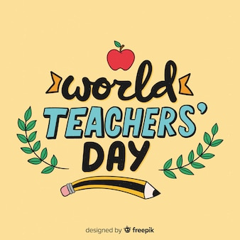 World teacher's day lettering background