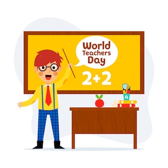 World teacher's day, young happy teacher
