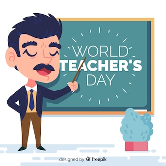 World teachers' day composition professor with chalkboard