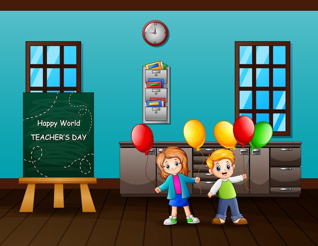 World teachers day concept with kids holding balloons