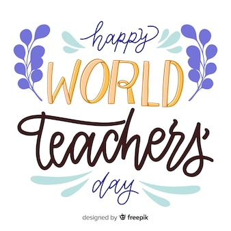 World teachers day concept with lettering