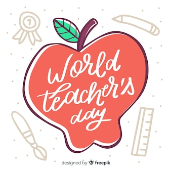 World teachers' day lettering with drawn apple
