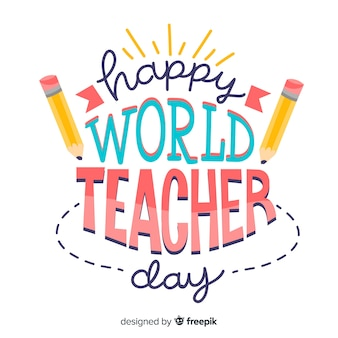 World teachers day lettering with pencils