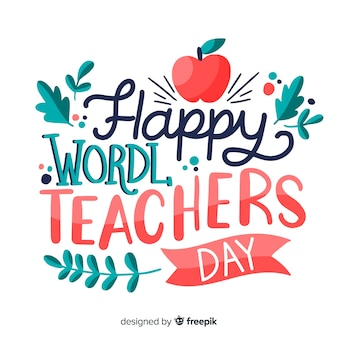 World teachers day lettering with red apple