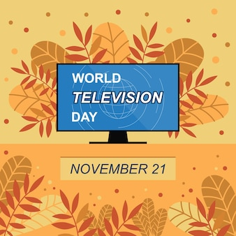 World television day banner vector autumn illustration with colorful leaves and television