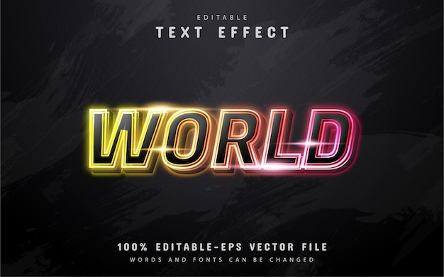 World text, colorful neon text effect