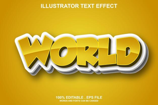 Редактируемый текстовый эффект мира