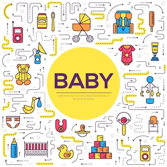 Всемирная тонкая линия грудного вскармливания и детские элементы плоский набор иконок