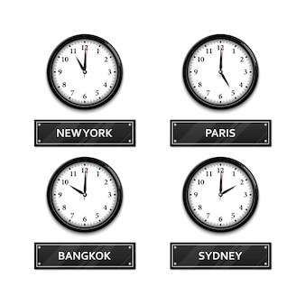 白で隔離される世界のタイムゾーン時計 Premiumベクター