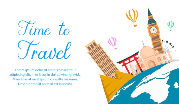 World tour color vector banner with text space.