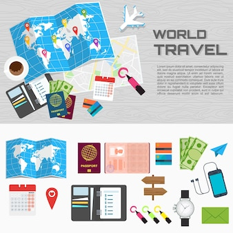 World tour poster passport for customs clearance airplane tickets route planning