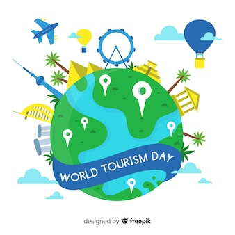 랜드 마크와 교통 세계 관광의 날 배경
