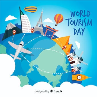 World tourism day background with landmarks and transport