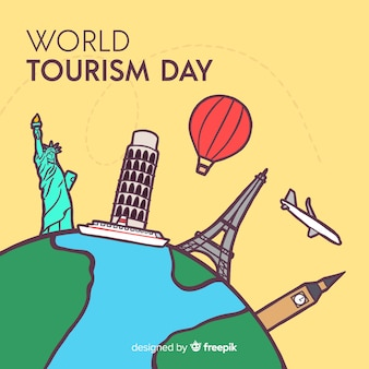 World tourism day background with monuments around earth