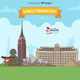 World tourism day background with monuments in flat design