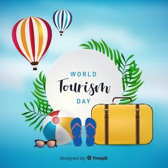 World tourism day background with shiny elements