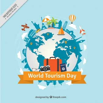 World tourism day background with world and monuments