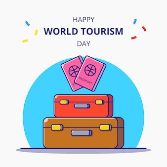 Всемирный день туризма сумка и паспорт для праздничной карикатуры. концепция значок туризма изолированы.