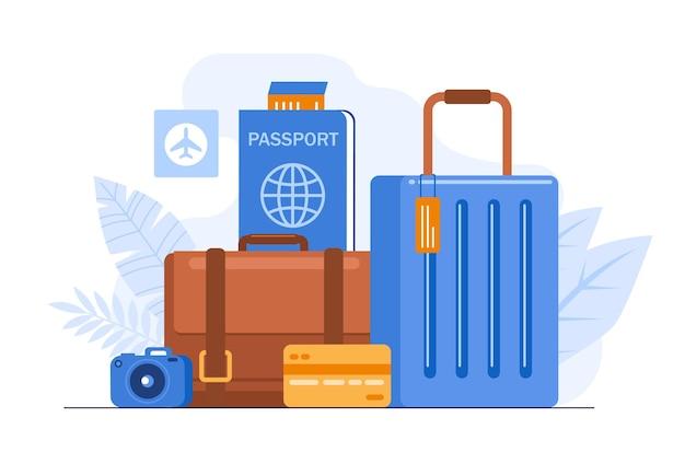 世界観光の日。休日の抽象的な概念のフラットベクトルイラストバナーとランディングページのバッグ