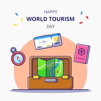 Всемирный день туризма сумка для праздничных карикатур. концепция значок туризма изолированы.