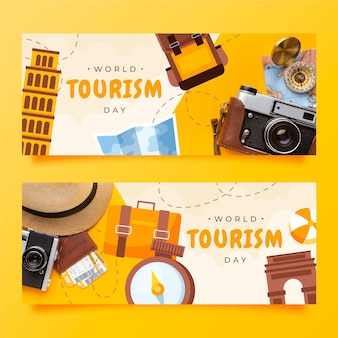 World tourism day banners set with photo