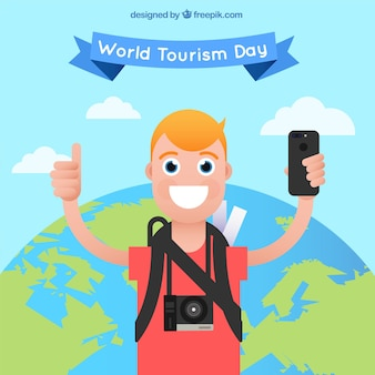 World tourism day, a boy traveling happily