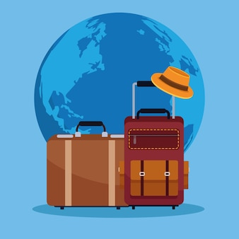Всемирный день туризма карта с планетой земля и чемоданы векторные иллюстрации дизайн