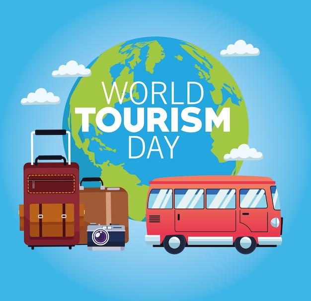 Всемирный день туризма карта с планетой земля и фургон векторные иллюстрации