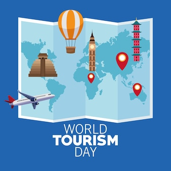 World tourism day card with paper map and monuments vector illustration design
