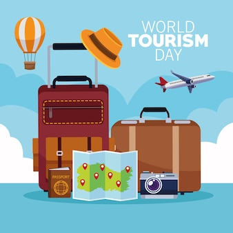 World tourism day card with suitcases and monuments vector illustration design