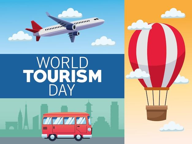 Всемирный день туризма карта с транспортом означает дизайн векторной иллюстрации