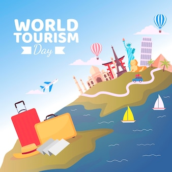 Плоский дизайн празднования всемирного дня туризма