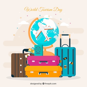 World tourism day, colorful travel items