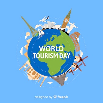 World tourism day concept with flat design