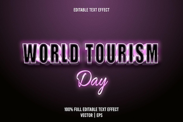 World tourism day editable text effect 3 dimension emboss luxury style