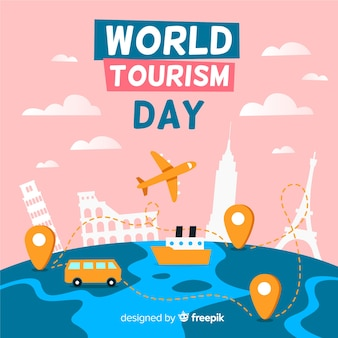 World tourism day event with landmarks